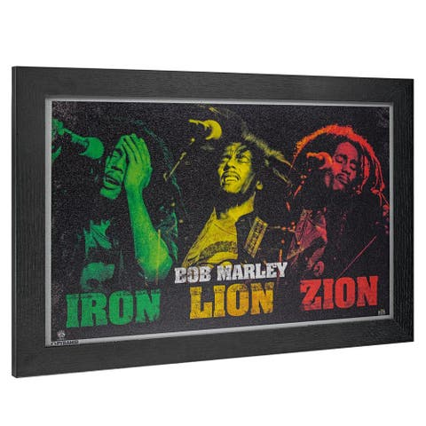 American Art Decor Licensed Bob Marley Iron Lion Zion Framed Wall Art - Multi-color