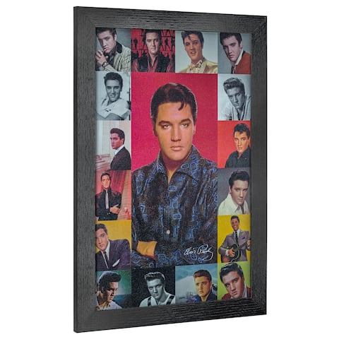 American Art Decor Vintage Elvis Presley Photo Collage Framed Wall Art - Multi-color