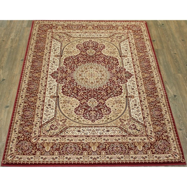 """Red Beige 5x8 Traditional Rug - 5'4"""" x 7'5"""""""