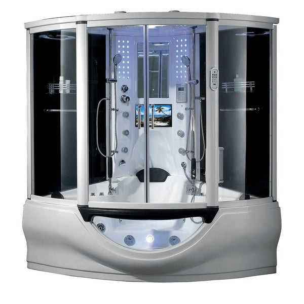 "Superior Steam Shower Sauna with Jetted jacuzzi Whirlpool Massage Bathtub Spa, Bluetooth, 12"" Android Tablet TV"