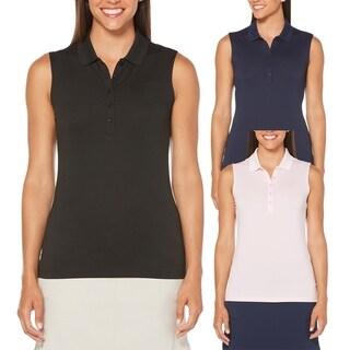 Callaway Women Opti Dri Micro Hex Sleeveless Golf Polo