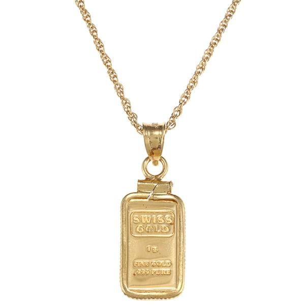 Gold Ingot Necklace For Sale