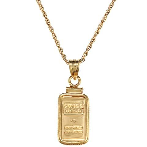American Coin Treasures 1-gram Gold Ingot Pendant Necklace - Yellow
