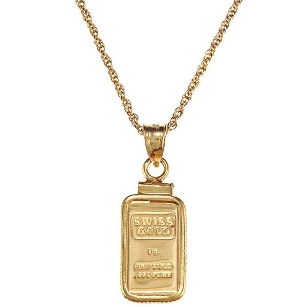 ea9e2e6dbf American Coin Treasures 1-gram Gold Ingot Pendant Necklace - Yellow