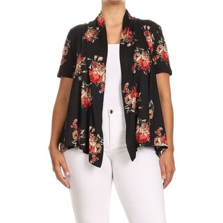 Women's Pattern Print Loose Fit Plus Size Open Front Draped Cardigan