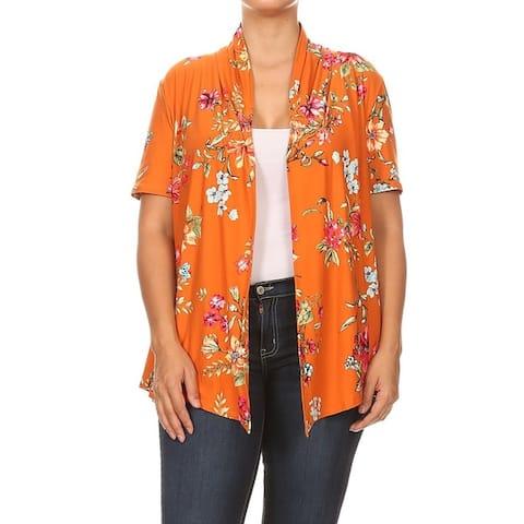 Women's Pattern Print Loose Fit Plus Size Open Front Draped Cardigan