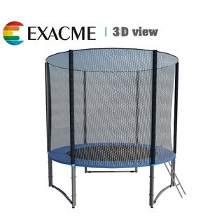 ExacMe 8 FT Trampoline w/ Safety Pad & Enclosure Net & Ladder COMBO
