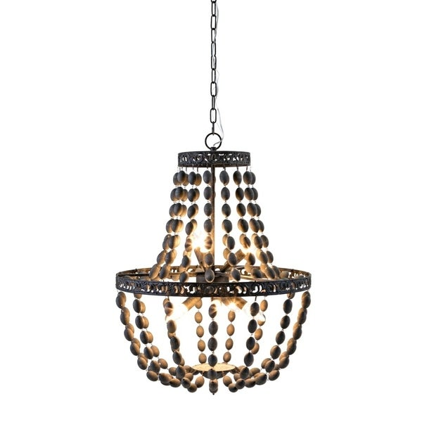 Wood Bead Chandelier With Wooden Shades and Supported By Iron, Brown