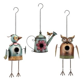 Hanging Metal Bird House, Set of Three, Multicolor