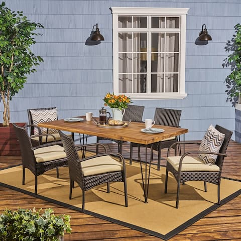 Clayton Outdoor 6-Seater Acacia Wood Dining Set by Christopher Knight Home