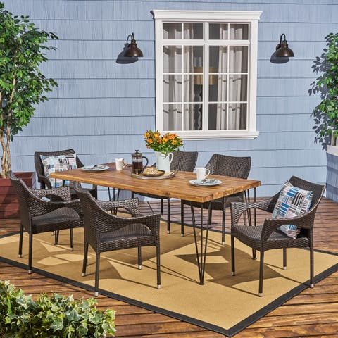 Reed Outdoor 6-Seater Acacia Wood Dining Set with Stacking Chairs by Christopher Knight Home