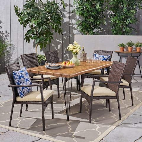 Tatum Outdoor 6-Seater Acacia Wood Dining Set by Christopher Knight Home