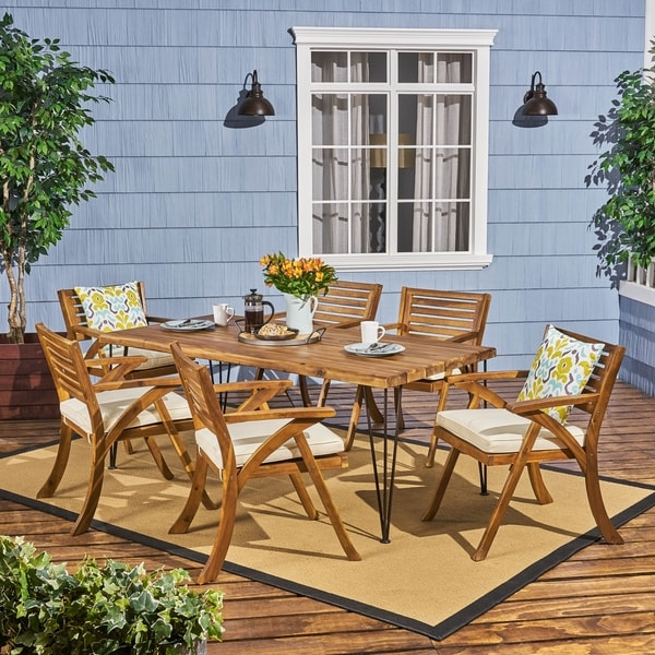 Blaine Outdoor 6-Seater Acacia Wood Dining Set by Christopher Knight Home