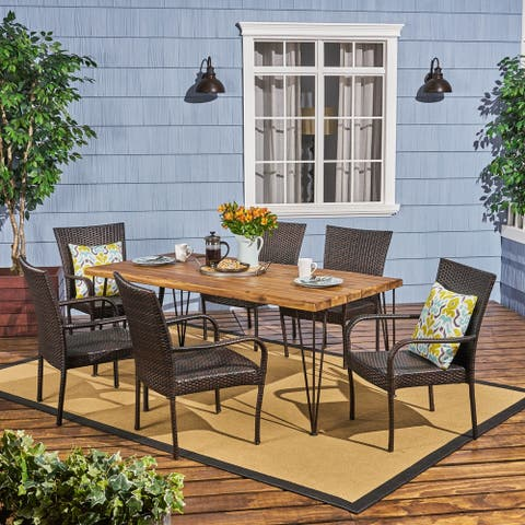 Walker Outdoor 6-Seater Acacia Wood Dining Set with Stacking Chairs by Christopher Knight Home