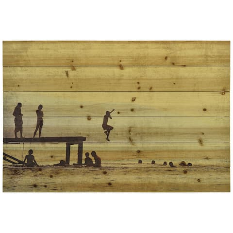"""Summer Lake"" Wall Art Printed on Solid Fir Wood Planks - Brown"