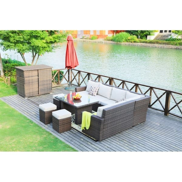8 Piece Outdoor Sectional Sofa Set Patio Furniture By