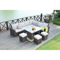 8-Piece Outdoor Patio Furniture Sectional Sofa Set by Moda Furnishings