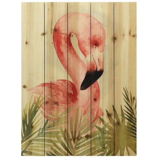 "Empire Art Direct ""Watercolor Flamingo Composition"" Arte de Legno Digital Print on Solid Wood Wall Art - Brown"