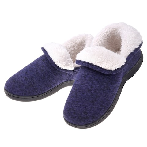 Women Warm Cotton Cable Knit Ankle High Slippers - Anti Skid Plush Fleece Indoor Outdoor Booties