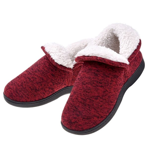 903c2c749 Women Warm Cotton Cable Knit Ankle High Slippers - Anti Skid Plush Fleece  Indoor Outdoor Booties