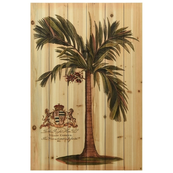 "Empire Art Direct ""British Colonial Palm"" Arte de Legno Digital Print on Solid Wood Wall Art"