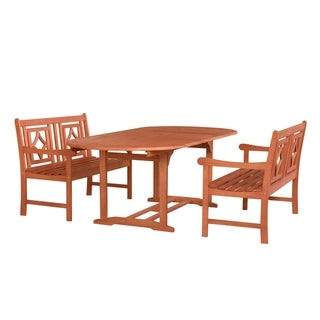 Malibu Outdoor 3-piece Wood Patio Extendable Table Dining Set