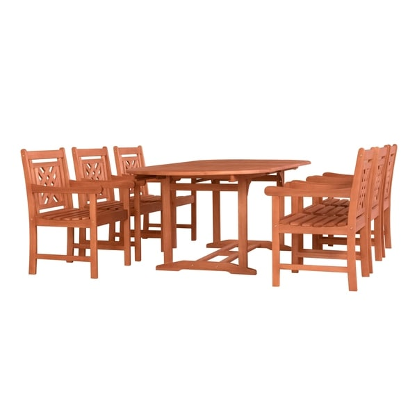 Malibu Outdoor Wood Patio Extendable Table Dining Set