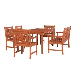 Versailles Outdoor 6-piece Wood Patio Rectangular Table Dining Set