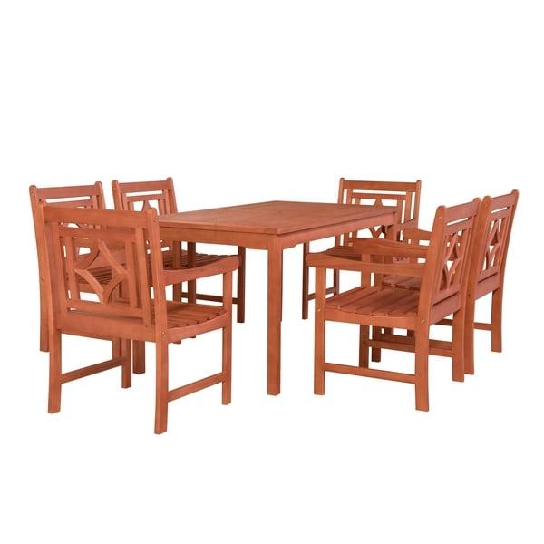 Havenside Home Hydaburg Outdoor 7-piece Wood Patio Rectangular Table Dining Set