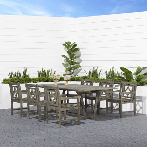 Renaissance Outdoor Wood Patio Extendable Table Dining Set