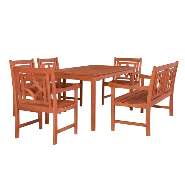 Malibu Outdoor 6-piece Wood Patio Rectangular Table Dining Set