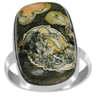 Sterling Silver Ring Cushion Cab 10.0 Carat Galaxy Jasper By Orchid Jewelry
