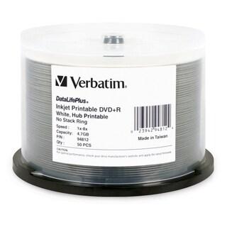 Verbatim DVD+R 4.7GB 8X DataLifePlus White Inkjet Printable, Hub Prin