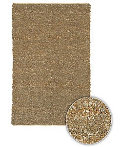 "Artist's Loom Hand-woven Natural Eco-friendly Fiber Fiber Shag Rug - 5' x 7'6"" - Thumbnail 0"