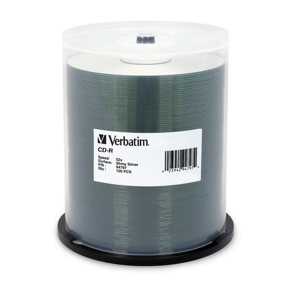 Verbatim CD-R 700MB 52X DataLifePlus Shiny Silver Silk Screen Printab