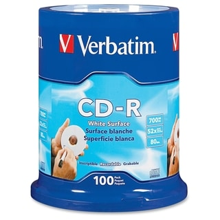 Verbatim CD-R 700MB 52X with Blank White Surface - 100pk Spindle - TA