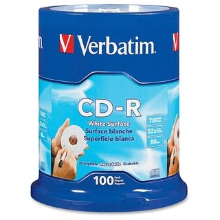 Verbatim CD-R 700MB 52X with Blank White Surface - 100pk Spindle - TA|https://ak1.ostkcdn.com/images/products/2625749/P10830784.jpg?impolicy=medium