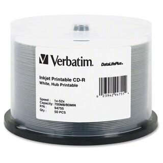 Verbatim CD-R 700MB 52X DataLifePlus White Inkjet Printable, Hub Prin