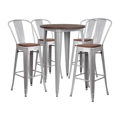 """Offex 30"""" Round Silver Metal Bar Table Set with Wood Top and 4 Stools"""