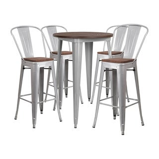 "Offex 30"" Round Silver Metal Bar Table Set with Wood Top and 4 Stools - N/A"