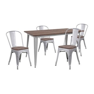 "Offex 30.25"" x 60"" Silver Metal Table Set with Wood Top and 4 Stack Chairs - N/A"