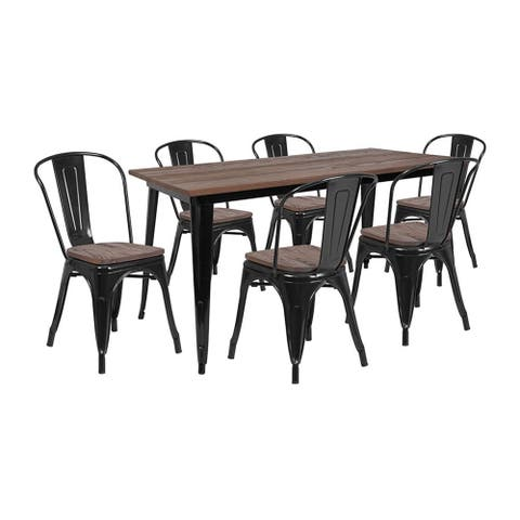 """Offex 30.25"""" x 60"""" Black Metal Table Set with Wood Top and 6 Stack Chairs"""