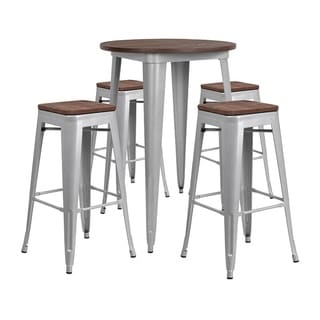 """Offex 30"""" Round Silver Metal Bar Table Set with Wood Top and 4 Backless Stools"""