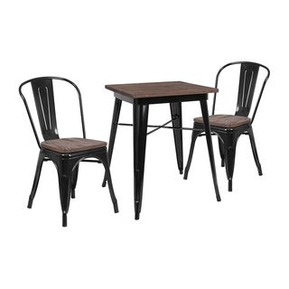 "Offex 23.5"" Square Black Metal Table Set with Wood Top and 2 Stack Chairs"