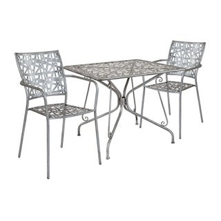 """Offex 35.25"""" Square Antique Silver Indoor Outdoor Steel Patio Table with 2 Stack Chairs"""