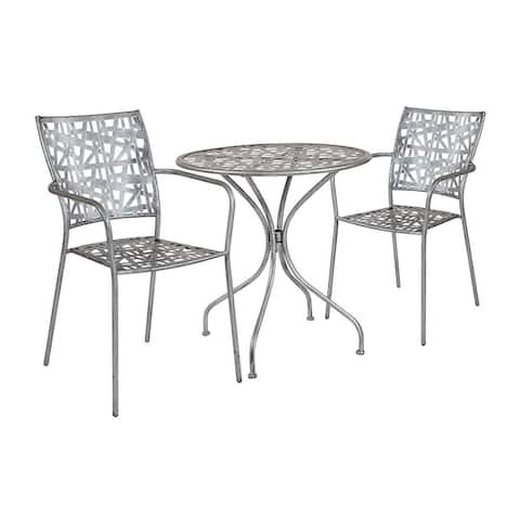 "Offex 27.5"" Round Antique Silver Indoor Outdoor Steel Patio Table with 2 Stack Chairs"
