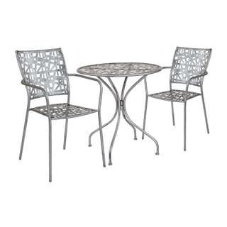 """Offex 27.5"""" Round Antique Silver Indoor Outdoor Steel Patio Table with 2 Stack Chairs"""