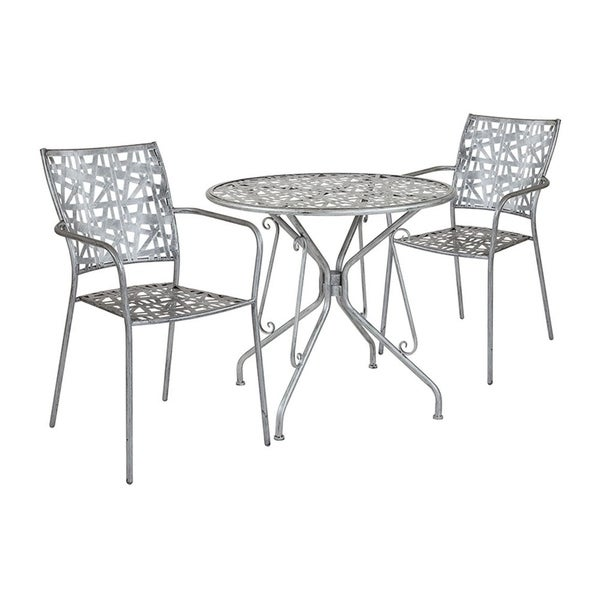 """Offex 31.5"""" Round Antique Silver Indoor Outdoor Steel Patio Table with 2 Stack Chairs"""