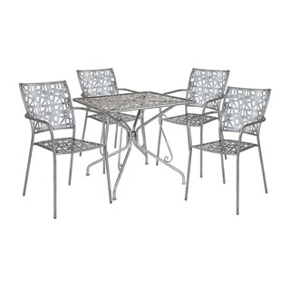 """Offex 31.5"""" Square Antique Silver Indoor Outdoor Steel Patio Table with 4 Stack Chairs"""