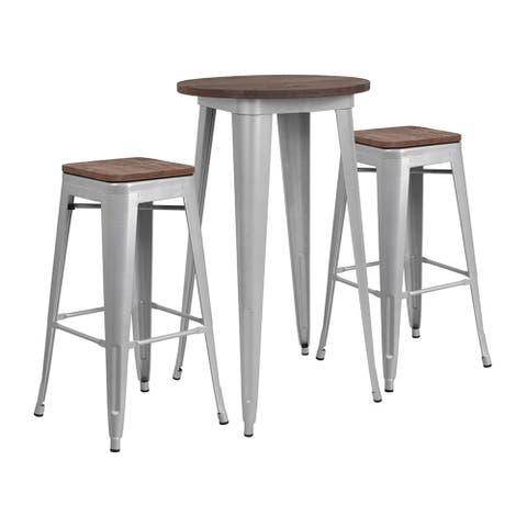 """Offex 24"""" Round Silver Metal Bar Table Set with Wood Top and 2 Backless Stools"""